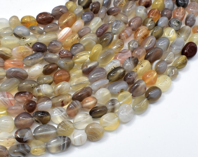 Botswana Agate, 6x8mm Nugget Beads, 15.5 Inch, Full strand, Approx 48-54 beads, Hole 1mm (167047002)