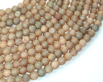 Druzy Agate Beads, Light Champagne Geode Beads, 6mm (6.5 mm) Round Beads, 15 Inch, Full strand, Approx 62 beads, Hole 1mm (122054213)