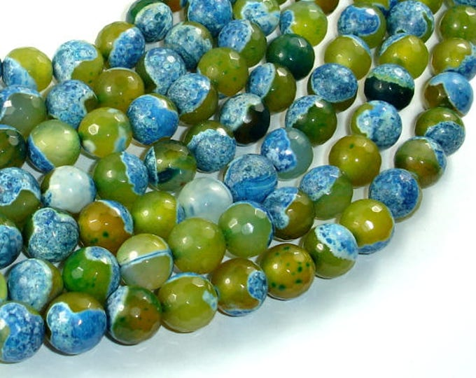 Agate Beads, Blue & Green, 10mm Faceted Round Beads, 15 Inch, Full strand, Approx 38 beads, Hole 1mm (122025307)