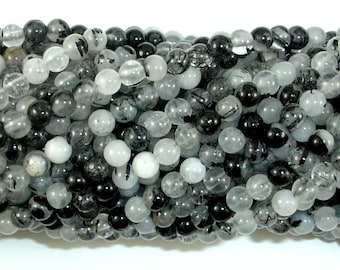 Black Rutilated Quartz Beads, 4mm (4.3mm) Round Beads, 15.5 Inch, Full strand, Approx 98 beads, Hole 0.8mm (143054007)