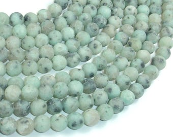 Matte Sesame Jasper Beads, Kiwi Jasper, 8mm (8.3mm) Round Beads, 15 Inch, Full strand, Approx 47 beads, Hole 1mm (402054010)