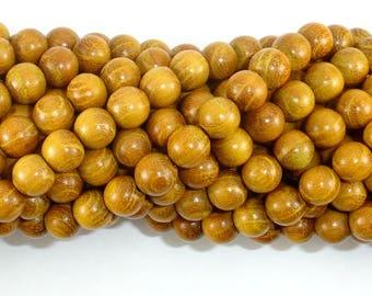 Yellow Wood Beads, Nangka Wood Beads, 8mm(7.8mm) Round Beads, 32 Inch, Full strand, 108 Beads, Mala Beads (011741002)