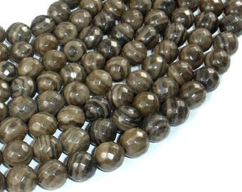 Coffee Jasper, 10mm(9.5mm) Faceted Round Beads, 15 Inch, Full strand, Approx 38 beads, Hole 1mm (227025002)