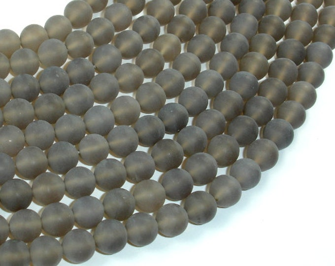 Matte Gray Agate Beads, 8mm Round Beads, 15.5 Inch, Full strand, Approx 50 beads, Hole 1mm, A quality (241054005)