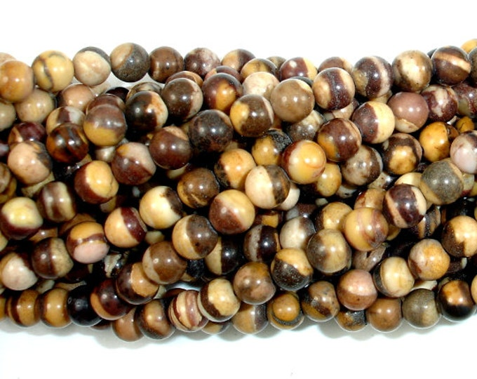 Brown Zebra Jasper Beads, Round, 4mm (4.4 mm), 16 Inch, Full strand, Approx 94 beads, Hole 0.5 mm, A quality (173054002)