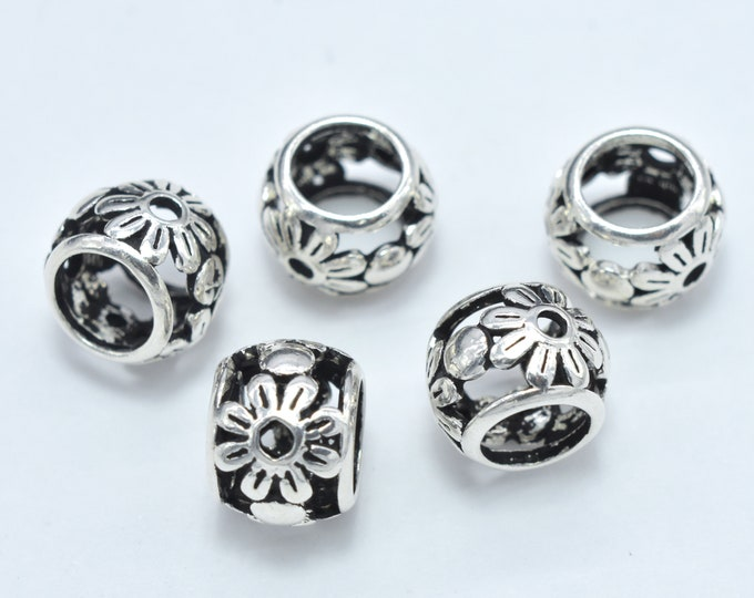 2pcs 925 Sterling Silver Beads-Antique Silver, Big Hole Rondelle Beads, Spacer Beads, 8x6mm Hole 5mm (007903022)