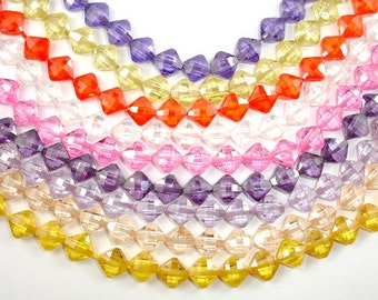 Cubic Zirconia Beads, CZ beads, 6 x 6 mm Faceted Diamond Beads, 6 Inch, 1 strand, 20 beads, Hole 0.8 mm, A quality (DI0606)