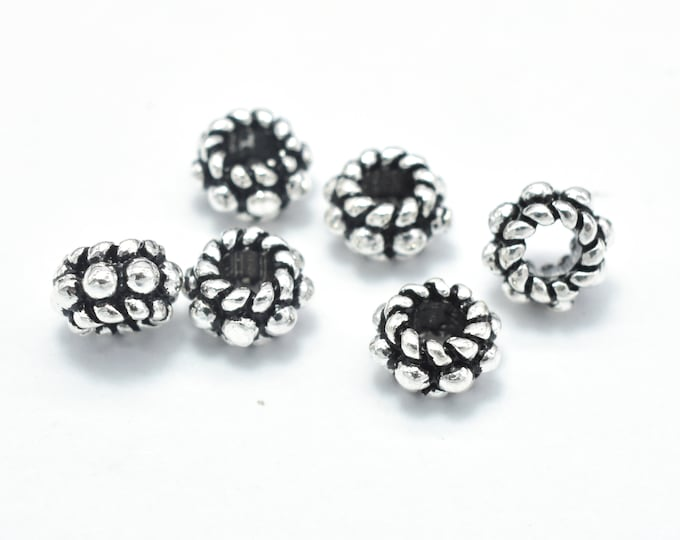 8pcs 925 Sterling Silver Beads-Antique Silver, 5mm Rondelle Beads, Spacer Beads, 5x3mm Hole 2.2mm (007903014)