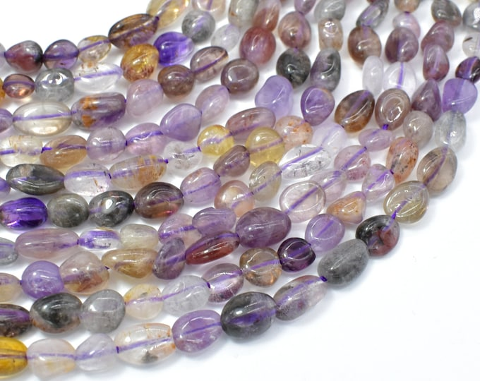 Super Seven Beads, Cacoxenite Amethyst, Approx 6x7mm Nugget Beads, 15.5 Inch, Full strand, Approx 52-56 beads, Hole 1mm (460047001)