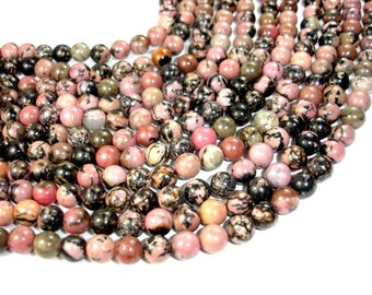Rhodonite, Round beads, 8mm (8.5mm), 15.5 Inch, Full strand, Approx 48 beads, Hole 1 mm, A- quality (386054006)