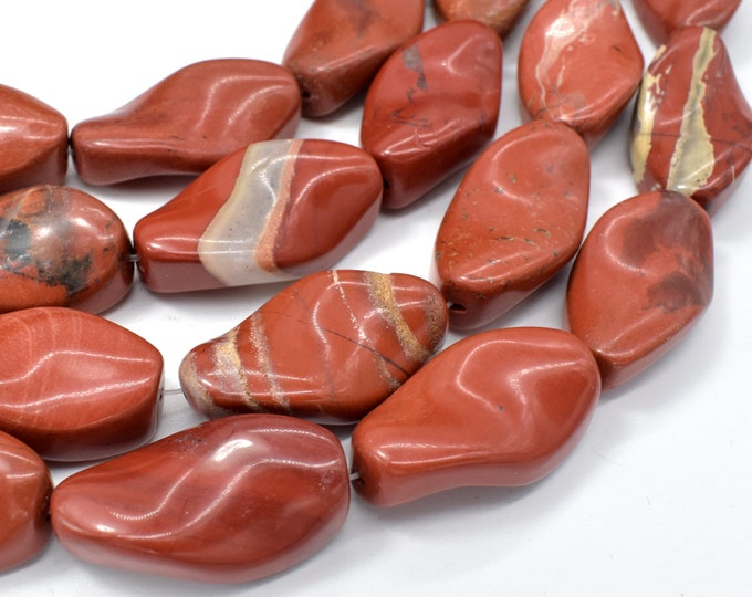 Red Jasper Beads, 17x30mm Twisted Oval Beads, 16 Inch, Full strand, Approx 13 beads, Hole 1.1mm (371070001)