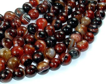 Banded Agate Beads, Sardonyx Agate Beads, 10mm(10.2mm) Round Beads, 15 Inch, Full strand, Approx 38 beads, Hole 1mm (132054063)