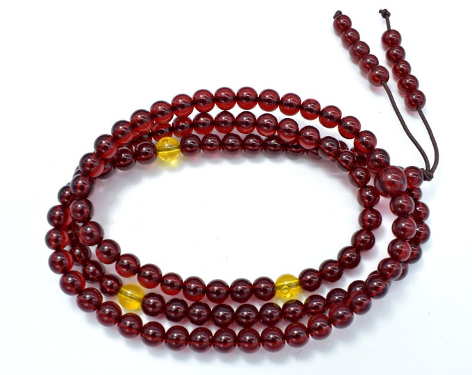 Blood Amber Resin, 6mm(5.8mm) Round Beads, 23 Inch, Approx 108 beads, Full strand, Hole 1mm, Imitatiom Amber (113054001)