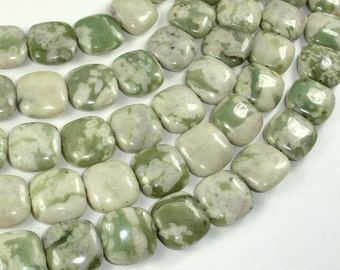 Peace Jade Beads, 15x15mm Square Beads, 15.5 Inch, Full strand, Approx 26 beads, Hole 1mm, A quality (338056001)