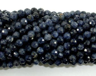 Blue Sapphire Beads, 3mm(3.5mm) Faceted Round, 15.5 Inch, Approx 110-120 beads, Hole 0.6mm (162025003)