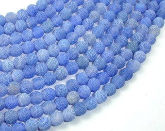 Frosted Matte Agate - Blue, 6mm Round Beads, 14.5 Inch, Full strand, Approx 63 beads, Hole 1 mm (122054202)