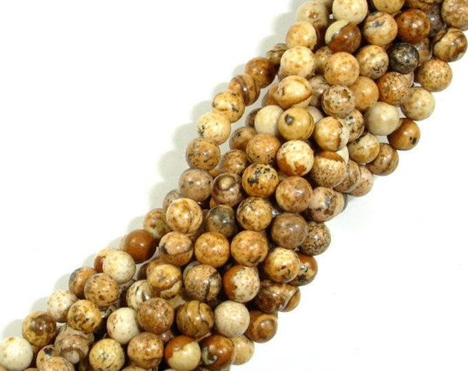 Picture Jasper Beads, 4mm (4.7 mm) Round Beads, 15.5 Inch, Full strand, Approx 85 beads, Hole 1mm, A quality (345054006)