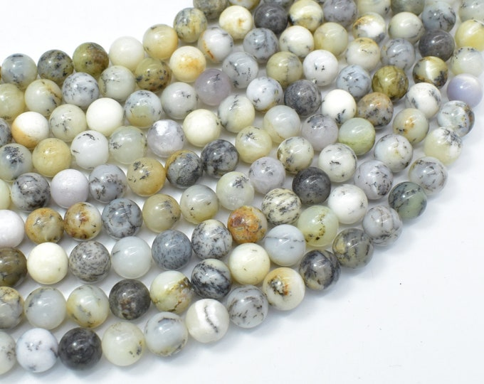 Dendritic Opal Beads, Moss Opal, 8mm (8.2mm) Round Beads, 15.5 Inch, Full strand, Approx 48 beads, Hole 1mm, A quality (441054006)