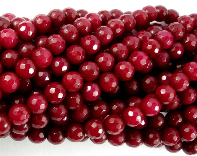 Ruby Jade, 6mm Faceted Round, 15.5 Inch, Full strand, Approx 64 beads, Hole 1mm, A quality (211025010)
