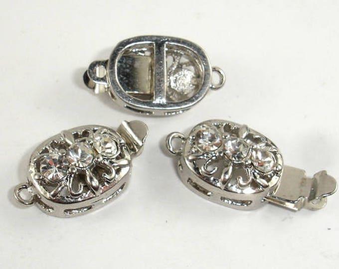 Rhinestone Oval Filigree Box Clasps , Rhodium Plated, 10x12mm, 2pcs (006854008)