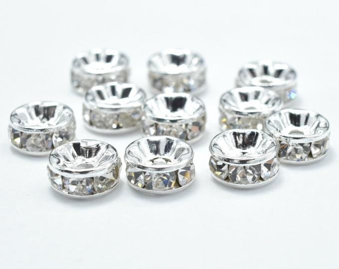 Rhinestone, 8mm, Finding Spacer Round,Clear,Silver plated Brass, 30 pieces, Hole 1.8mm, A quality(006870045)