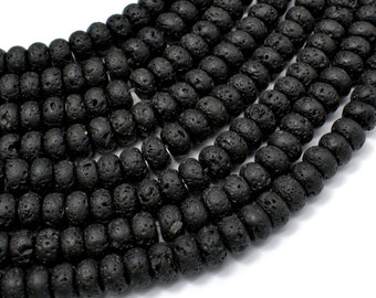 Black Lava Beads, 5x8mm Rondelle Beads, 15.5 Inch, Full strand, Approx 75 beads, Hole 1mm (300053002)