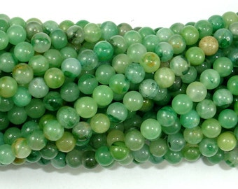 Verdite, African Jade, 4mm (4.3 mm) Round Beads, 15.5 Inch, Full strand, Approx 94 beads, Hole 0.8 mm, A quality (106054003)