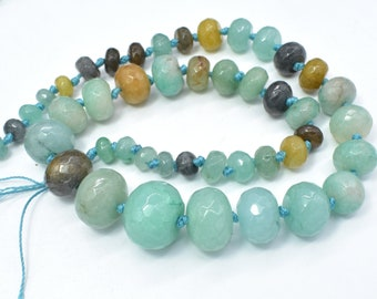 Jade-Amazonite Beads, 5x8-14x20mm Graduated Faceted Rondelle Beads, 19 Inch, Full strand, Approx 45 beads, Hole 1mm (211151004)