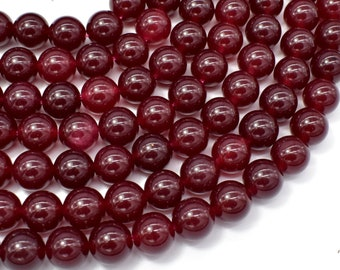 Jade Beads-Ruby, 10mm Round Beads, 15 Inch, Full strand, Approx 38 beads, Hole 1mm (211054196)