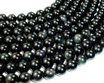 Rainbow Obsidian Beads, Round, 10mm, 15.5 Inch, Full strand, Approx 38 beads, Hole 1 mm, A quality (366054003)