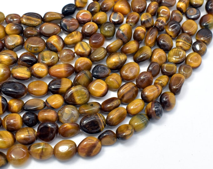 Tiger Eye, 6x8mm Nugget Beads, 15.5 Inch, Full strand, Approx 45-50 beads, Hole 1mm (426047003)