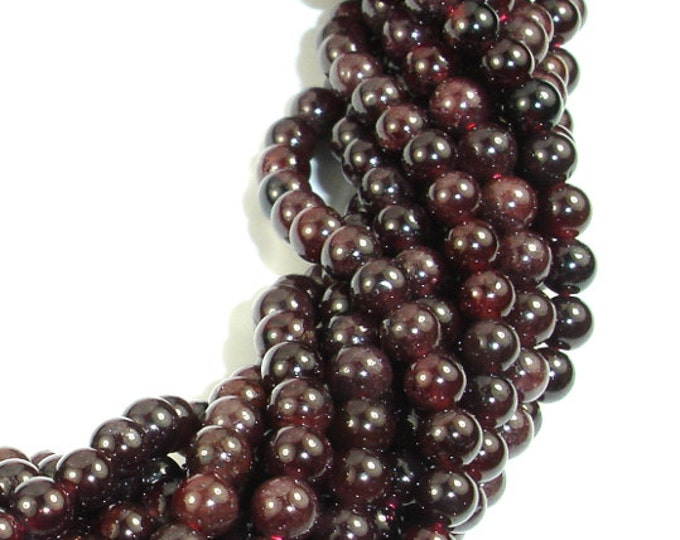 Red Garnet Beads, 4mm-4.7mm Round Beads, 15.5 Inch, Full strand, Approx 85-100 beads, Hole 0.8 mm, (370054018)