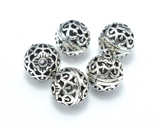 2pcs 925 Sterling Silver Beads-Antique Silver, 8mm Round Beads, Spacer Beads, Hole 1mm (007903017)