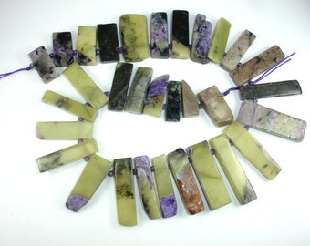Charoite, (7-12)mmx(20-43)mm Graduated Top Drilled Stick, Slice Beads, 15.5 Inch, Full stand, Approx 32 beads, Hole 2.3mm(187059002)
