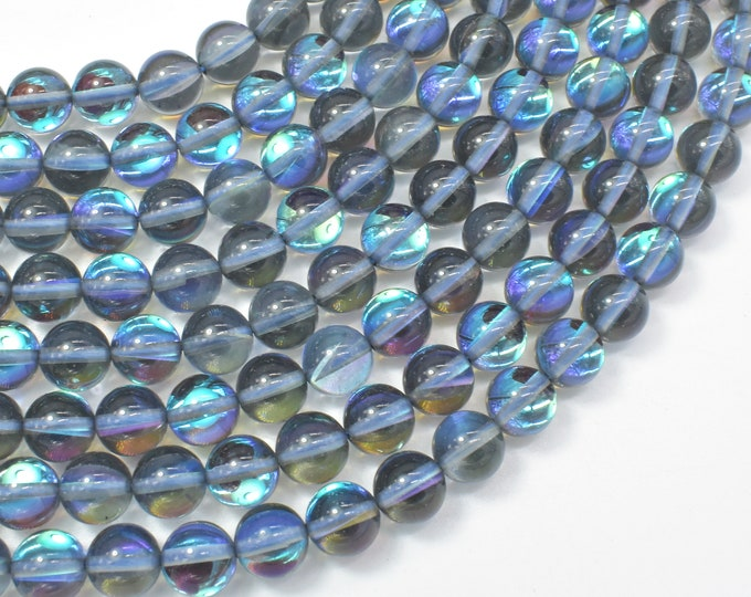 Mystic Aura Quartz-Gray, 8mm (8.5mm) Round Beads, 15 Inch, Full strand, Approx 46 beads, Hole 1mm (313054019)