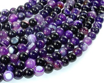 Banded Agate Beads, Purple, 8mm(8.5mm) Round Beads, 15.5 Inch, Full strand, Approx 48 beads, Hole 1mm (132054042)