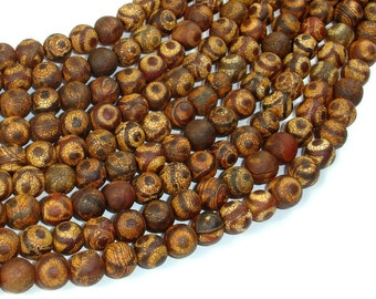 Matte Tibetan Agate Beads, 8mm (7.8mm) Round Beads, 14 Inch, Full strand, Approx 49 beads, Hole 1.2mm, A quality (122054125)
