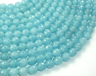 Blue Sponge Quartz Beads, Faceted Round, 8mm, 15 Inch, Full strand, Approx 47 beads, Hole 1 mm, A quality (159025004)