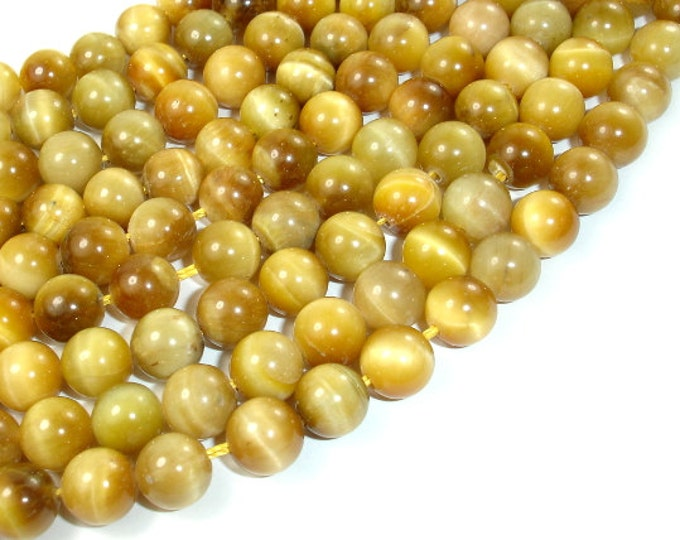 Golden Tiger Eye, 8mm (8.3 mm) Round Beads, 15.5 Inch, Full strand, Approx 48 beads, Hole 1 mm (426054026)