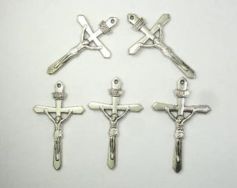 Cross Charms, Cross Pendants, Zinc Alloy, Antique Silver Tone, 22x37 mm, 15 pcs, Hole 1mm (006868001)