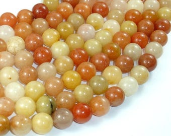 Old Yellow Jade Beads, 10mm(10.3mm), 16 Inch, Full strand, Approx 40 beads, Hole 1mm (440054018)