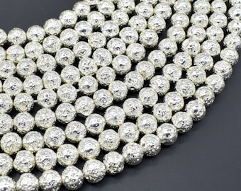 Lava-Silver Plated, 8mm (8.7mm) Round Beads, 15.5 Inch, Full strand, Approx 46 beads, Hole 1mm (300054050)