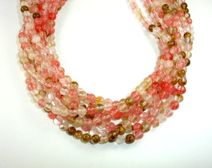 Fire Cherry Quartz Beads, Round, 6mm (6.5 mm), 15.5 Inch, Full strand, Approx 61 beads, Hole 1mm (422054001)
