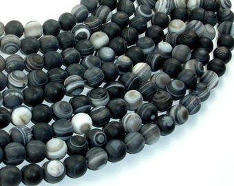 Matte Banded Agate Beads, 8mm(8.5mm) Round Beads, 15.5 Inch, Full strand, Approx 48 beads, Hole 1mm (132054021)