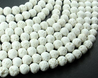 White Lava Beads, 8mm Round Beads, 15.5 Inch, Full strand, Approx 49 beads, Hole 1 mm (300054044)