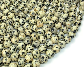 Dalmation Jasper Beads, Round, 8mm ( 8.7 mm), 15 Inch, Full strand, Approx 44 beads, Hole 1 mm, A quality (204054003)