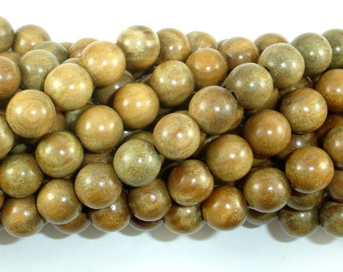 Green Sandalwood Beads, 10mm(10.3mm) Round Beads, 43 Inch, Full strand, Approx 108 Beads, Mala Beads (011734003)
