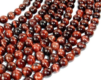 Red Tiger Eye Beads, Round, 10mm, 15 Inch, Full strand, Approx 38 beads, Hole 1 mm (383054015)
