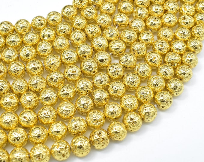 Lava-Gold Plated, 8mm (8.7mm) Round Beads, 15.5 Inch, Full strand, Approx 47 beads, Hole 1mm (300054056)