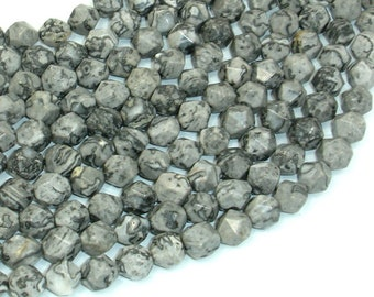 Gray Picture Jasper Beads, 8mm Star Cut Faceted Round, 15 Inch, Full strand, Approx 47 beads, Hole 1mm (141186001)